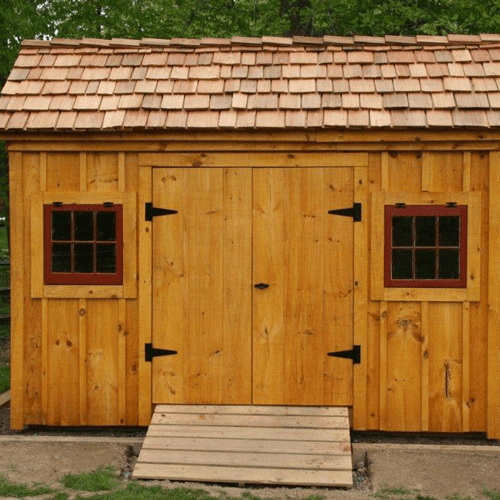 8x12 Saltbox with Red Cedar Shingle Roofing