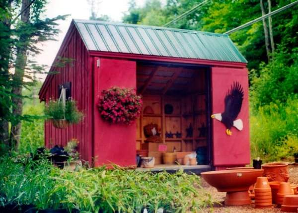 Painting your shed a bright color can make it stand out. This can be eyecatching if you have it placed at a business.