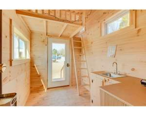 8x16 Cross Gable Tiny House eastern white pine wood interior with insulated doors and windows