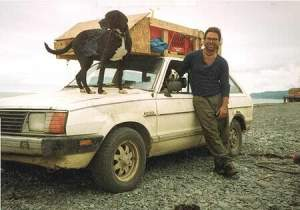 Domenic Mangano - CEO of Jamaica Cottage Shop - travelingn in Alaska with dog
