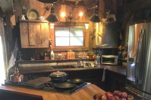 Vermont Cabin Cottage Interior kitchen with wood paneling