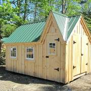 12x16 Dollhouse includes the Evergreen metal roof, board and batten siding, single door, double door, windows and floor system.