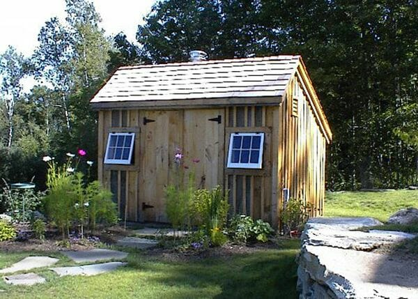 10x12 Saltbox garden shed with red cedar shingle roof