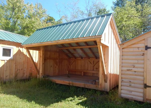 10x14 Camp Alcove with Evergreen roof