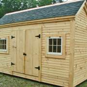 10x14 Church Street post and beam storage shed with clapboard siding
