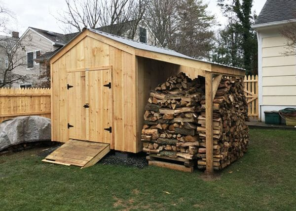 10x14 New Yorker storage shed with 6x14 Overhang to hold four cords of firewood