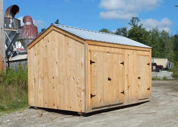 10x14 New Yorker Option A storage shed with extra single door and silver roof upgrade