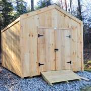 10x14 New Yorker Option B post and beam storage shed with pine board siding