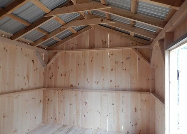 10x14 New Yorker storage shed interior includes a rough sawn hemlock post and beam frame.