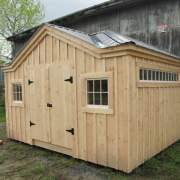 10x14 Tool Shed with Transom Window  and Patrician Bronze Roof