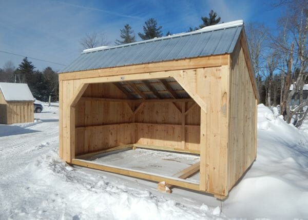 10x14 Basic Run In with galvalume roof and pine board siding