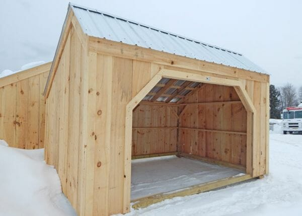 10x14 Basic Run In livestock shelter for animals that don't kick