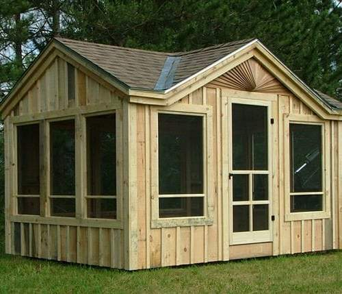 10x14 Florida Room - A screen room with a roof upgrade (asphalt shingles with solid pine roof sheathing)