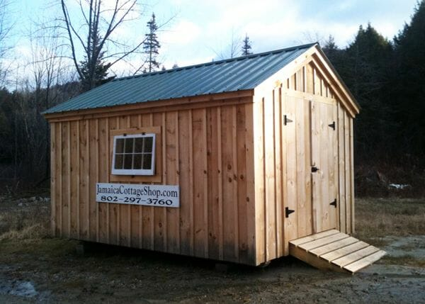 10x14 Gable storage shed with double doors, pressure treated ramp, floor system, green roof and windows