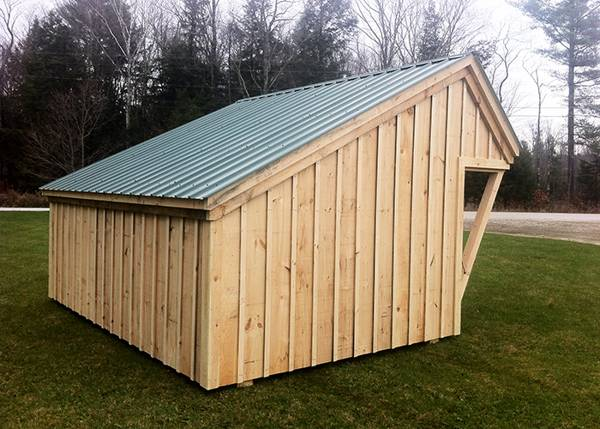 10x14 Camp Alcove with board and batten siding and a metal roof