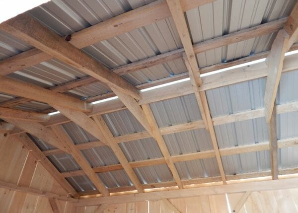 10x14 New Yorker post and beam shed frame interior
