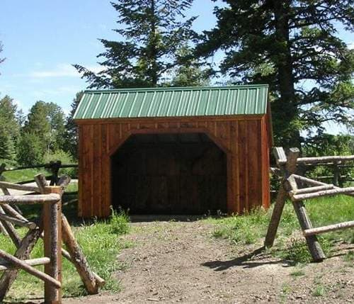 The Standard Run In is a portable horse barn that can be pulled around a pasture