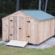 10x14 Vermonter with Evergreen Metal Roof, double doors and ramp