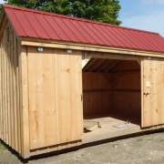 10X16 Three Sled Shed with Autumn Red Metal Roof
