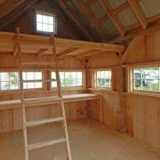 10x16 Hobby House with storage loft, ladder, workbench and windows