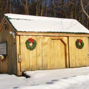 10x16 Three Sled Shed in snow