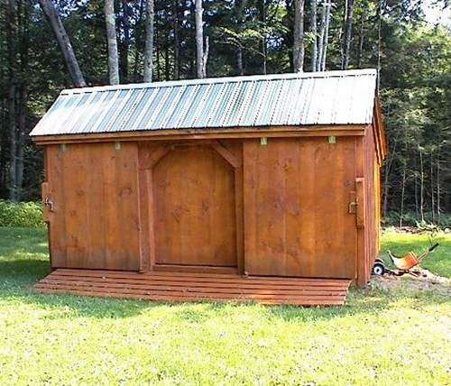 10x16 Three Sled Shed shown with stain