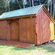 10x16 Three Sled Shed - Stained