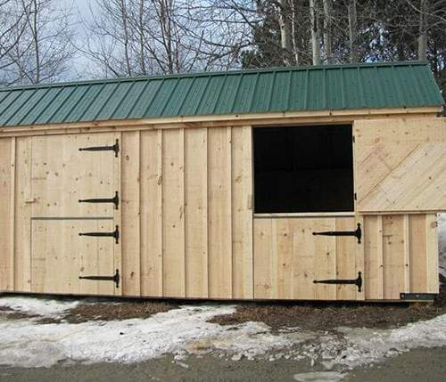 10x20 Two Stall Barn with one dutch door open
