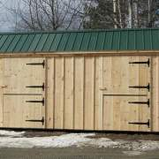 10x20 Stall Barn with green metal roof