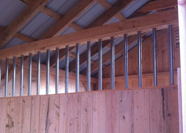 10x30 Stall Barn partition with steel bar grate