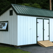 12x20 Saltbox custom built white and green shed