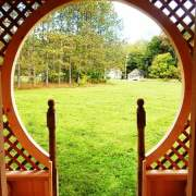 A detail view from the porch looking through the keyhole entry. A round door could be installed here too.