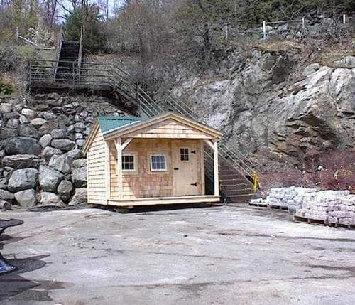 12x12 Potting Fort shown with red cedar shingle siding