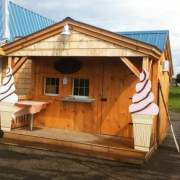 The Potting Fort converted into a vending booth for selling icecream