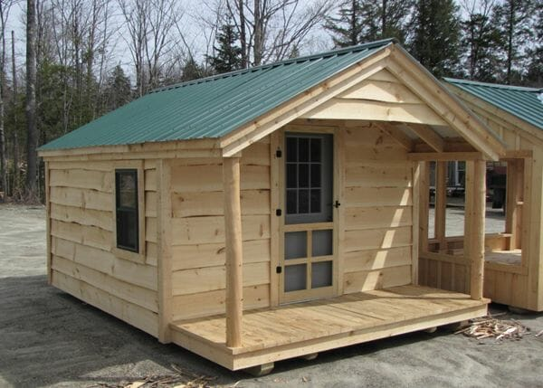 12x16 Home Office with live edge pine siding and two skinned hemlock porch posts