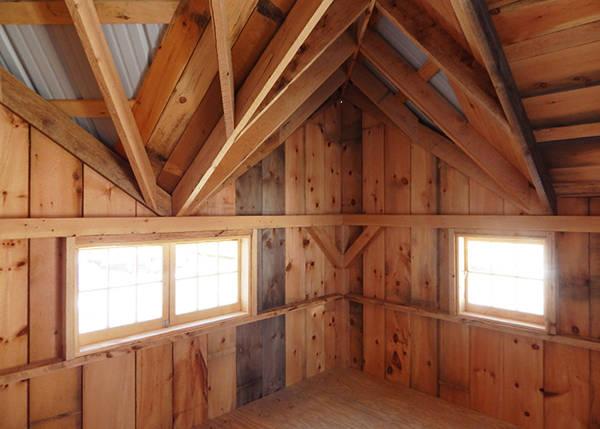 "12x16 Backyard Retreat includes hinged barn sash windows and 3/4"" CDX plywood decking"