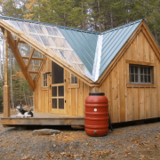 Off-Grid Camping Cottage with Rain Barrel Water Collection