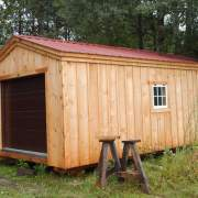 12x20 Garage - Custom Exterior with Window, Brown Overhead Garage Door and Autumn Red Roof