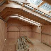 12X20 Three Sled Shed Interior - Customized with Clearpoly Roof Panels