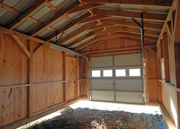 12x20 Garage with post and beam hemlock frame and overhead garage door