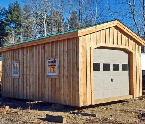 12x20 Garage post and beam design with two hinged windows