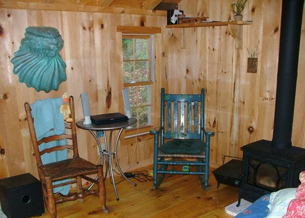 12x20 Home Office with shiplap pine interior wall sheathing