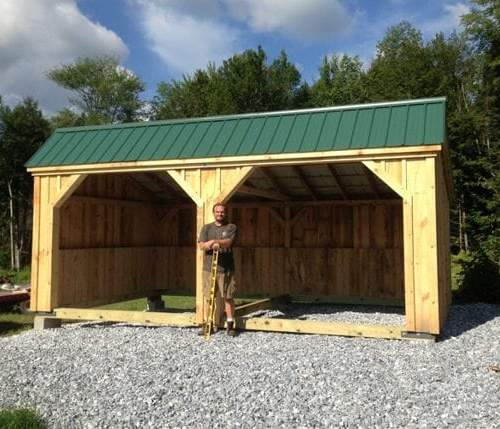 12x20 Standard Run In post and beam portable horse barn and shelter