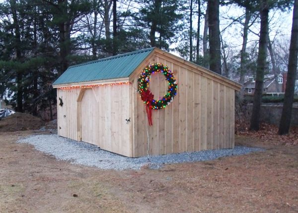 12x20 Three Sled Shed - Decorated for the holidays