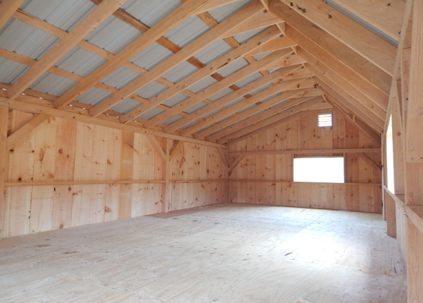 12x20 Xylia Interior - Post and Beam Shed