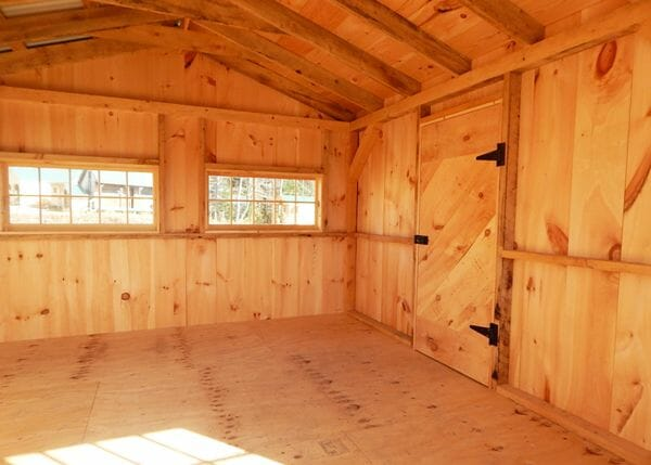 "12x24 Heritage shed includes rough sawn hemlock framing, 3/4"" CDX plywood decking and pine board and batten siding"