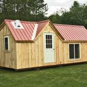 12x24 Xylia with four season insulation, red roof and roof flashing for a wood stove