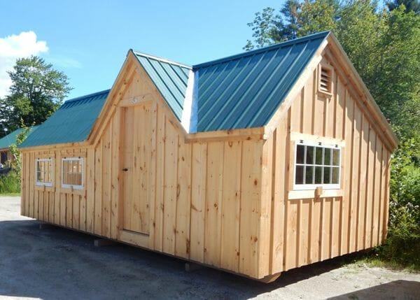 12x24 Xylia constructed as a single season cabin with hinged barn sash windows