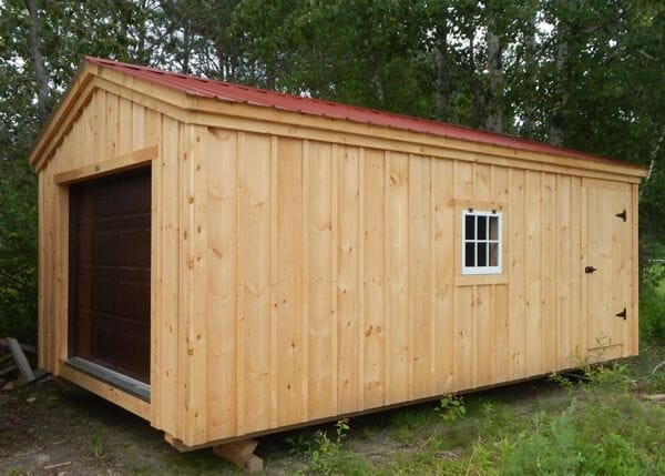 14x20 Barn Garage with brown overhead door, window and red roof