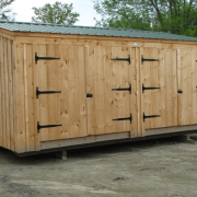 The Barn Garage Option B is built with two sets of double doors on installed on the bearing wall.